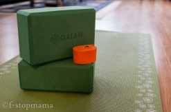 Yoga mat, blocks and strap