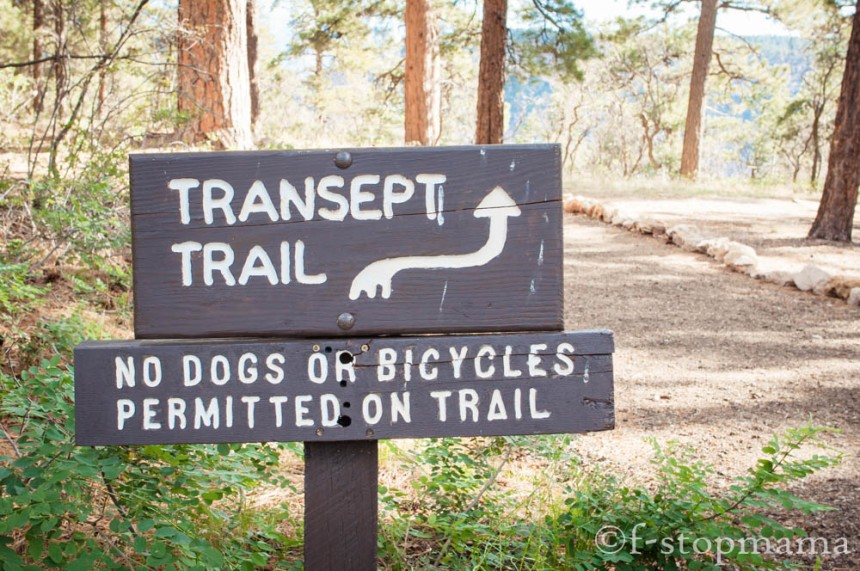 Trail sign at the Grand Canyon