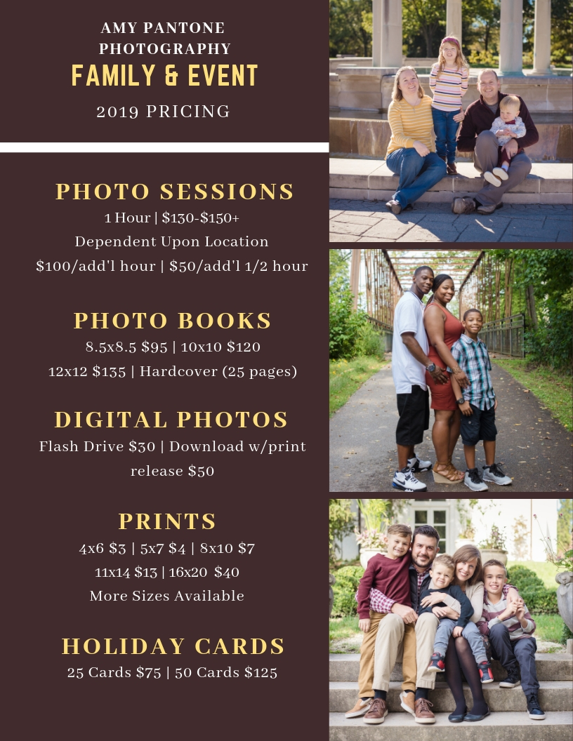 Pantone Photography's Family Pricing 2019