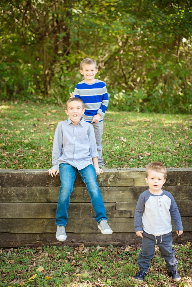 fall family photos at Fort Harrison State Park