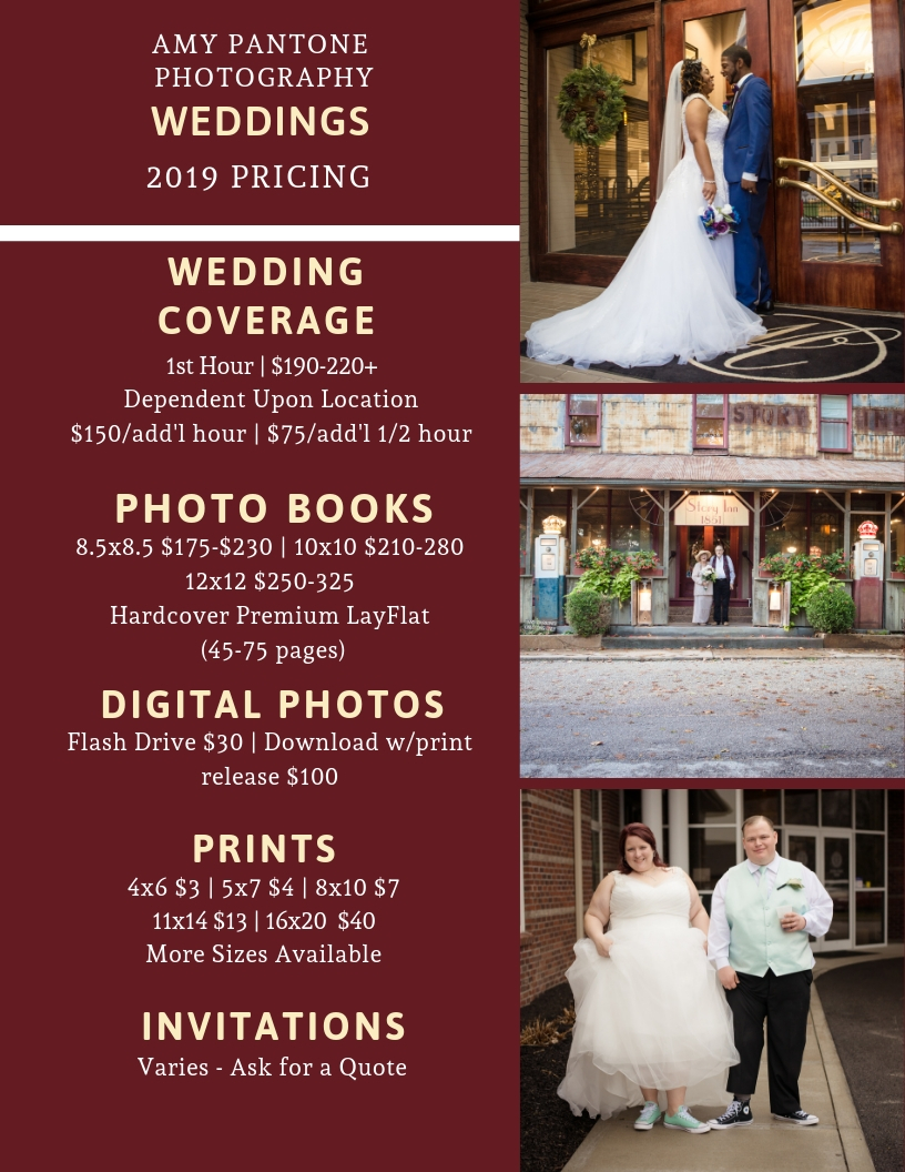 Pantone Photography's Wedding Pricing 2019