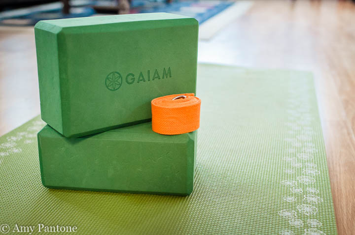 Yoga blocks, strap, mat