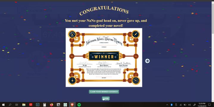 I Won NaNoWriMo:  50K Words in 30Days!
